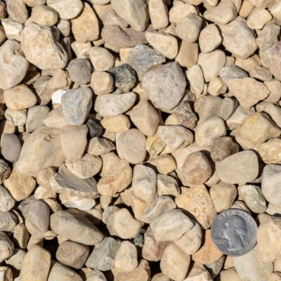 3/4 inch River Rocks and Stones with Quarter