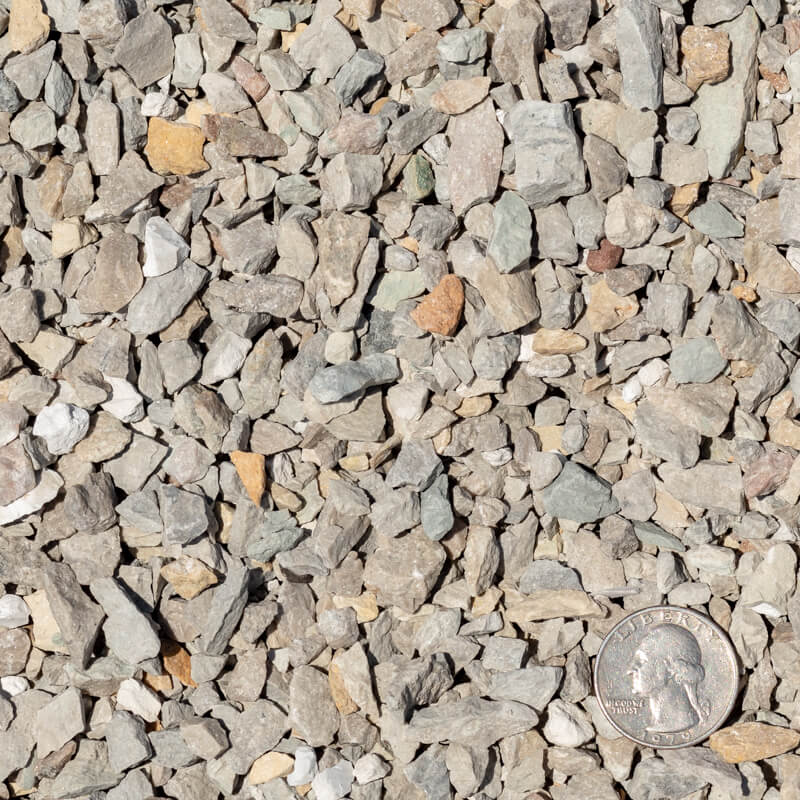 3/8 inch Limestone Chips with Quarter