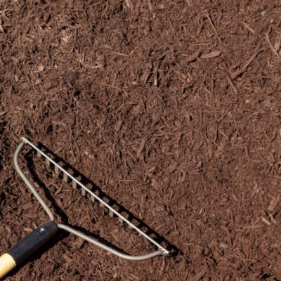 Dyed Brown Mulch with Rake