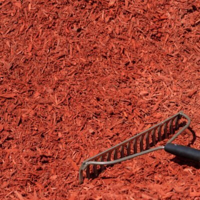 Dyed Red Mulch with Rake