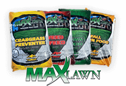 Photo of four bags of Max Lawn lawn care bags for each season with logo