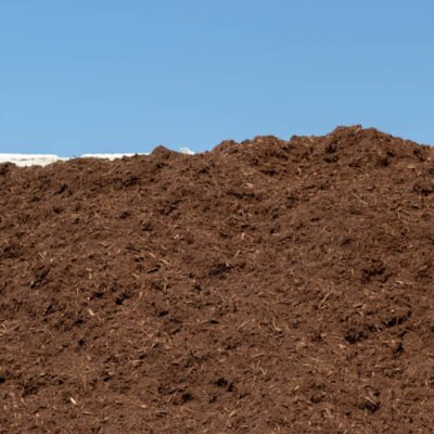 A pile of premium shredded hardwood mulch